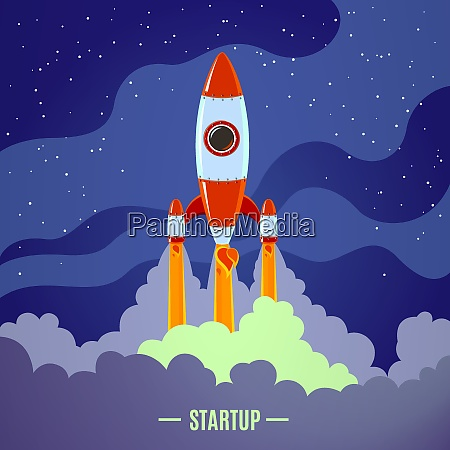 startup concept with flat cartoon stylized