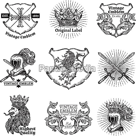 heraldic grayscale isolated emblems set with