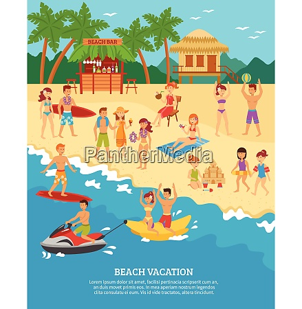summer beach vacation scene with flat