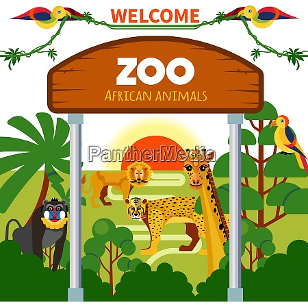zoo african animals with exotic birds
