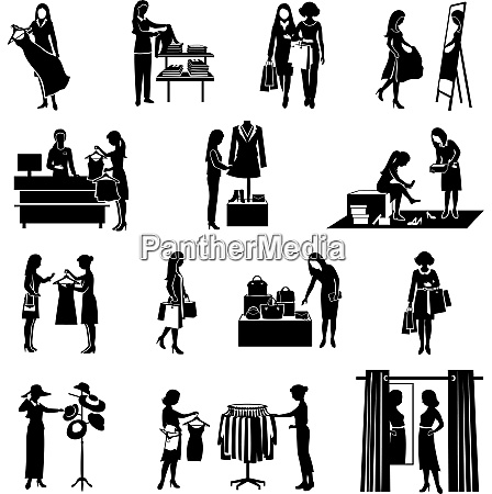 women fashion shopping black silhouettes icons