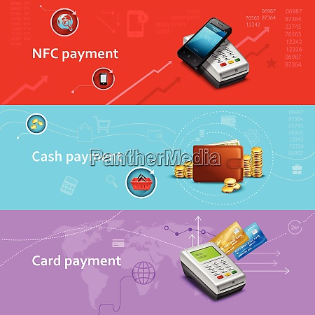 payment horizontal banners set with realistic