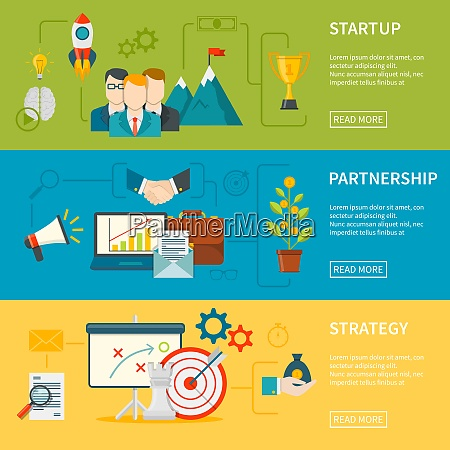 entrepreneurship flat horizontal banners set of