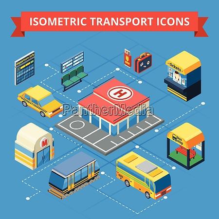 passenger transportation isometric flowchart with municipal
