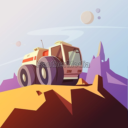 research vehicle cartoon background with planet