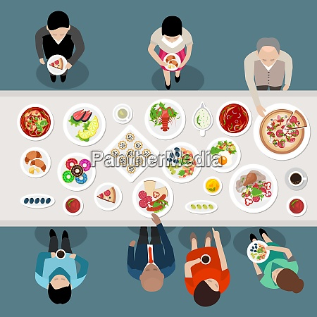 banquet catering party top view poster