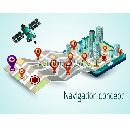navigation concept with cartoon mobile phone