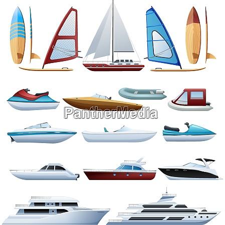 motor boats catamaran windsurfer and sailboat