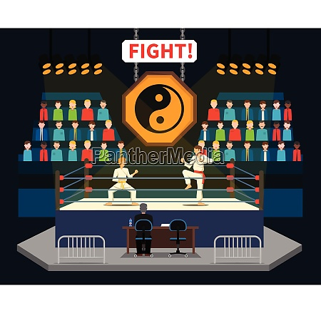 martial arts fight concept with spectators