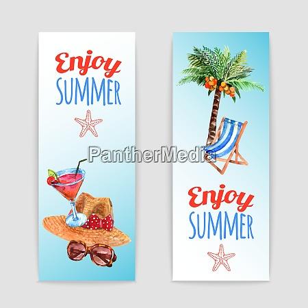 enjoy summer vacation 2 watercolor travel
