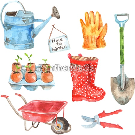 time to gardening watercolor pictograms composition