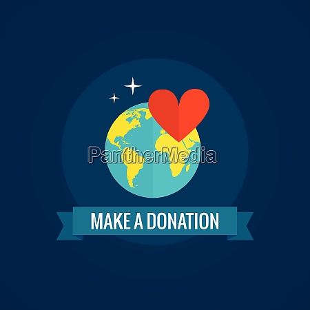 charity and donations icon with globe