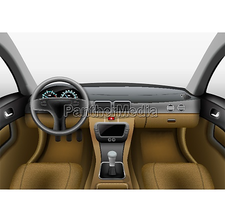 realistic car interior with light chairs