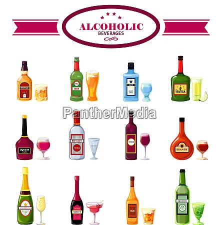 alcoholic beverages bottles with wineglasses flat
