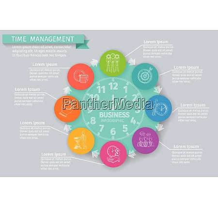 time management infographics set with sketch