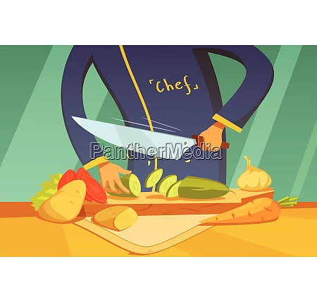 chef slicing vegetables background with potato