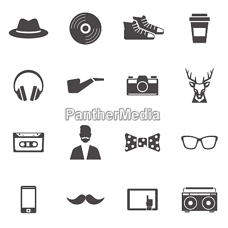 hipster black icons set with headphones