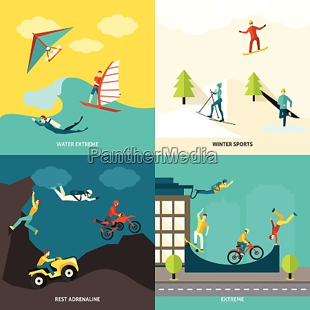 extreme sports design concept set with