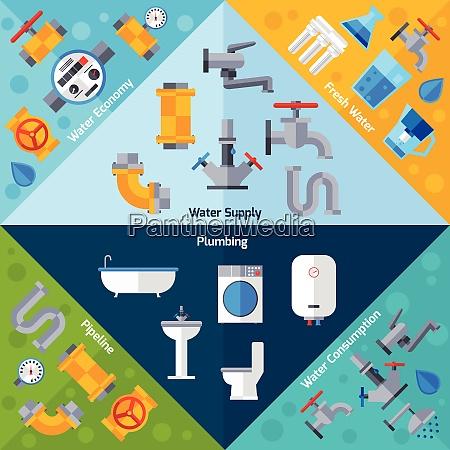 water supply corners set with plumbing