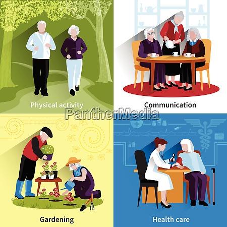 elderly people icons set elderly people