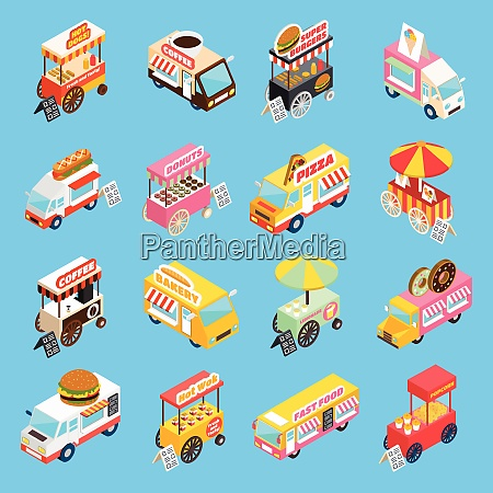 street food trucks and carts selling