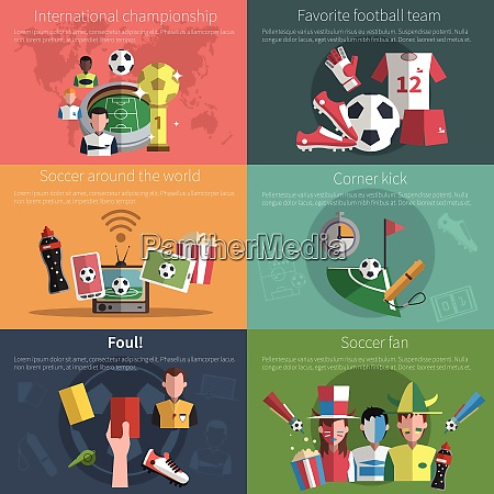 soccer mini poster set with world
