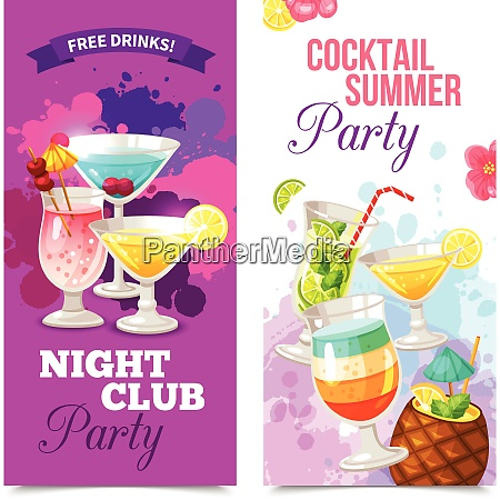 bright color vertical banners of cocktail