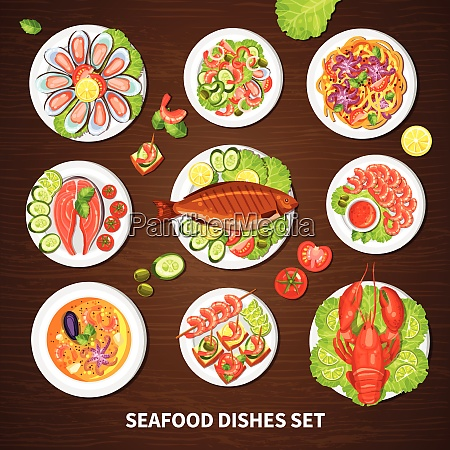 poster with seafood dishes set of