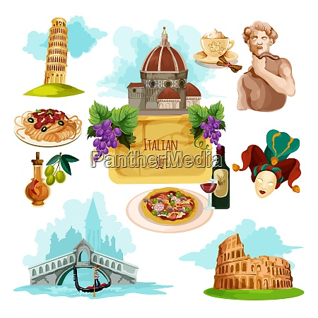 italy touristic set with cartoon venice