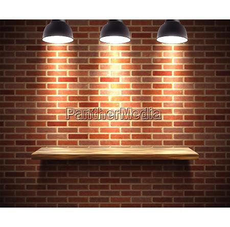 realistic wooden empty shelf illustration on