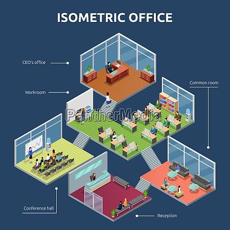 isometric business organization office 3 storey