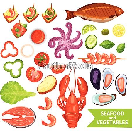 icons set of seafood like fish