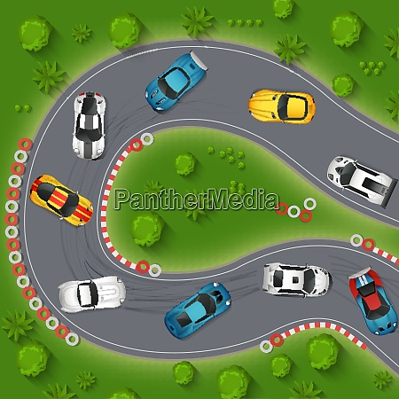 cars drifting top view background rally