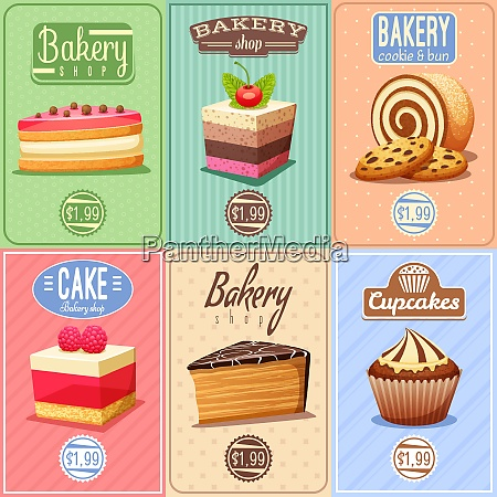 traditional bakery confectionary 6 vintage mini