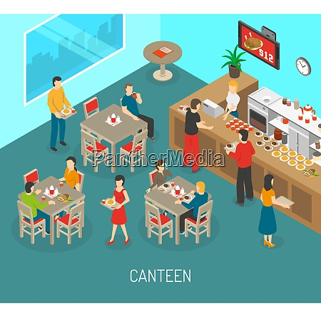 food in workplace isometric poster with