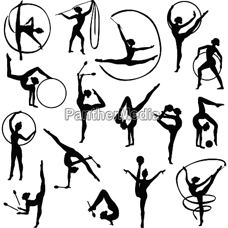 set of black silhouettes of gymnast