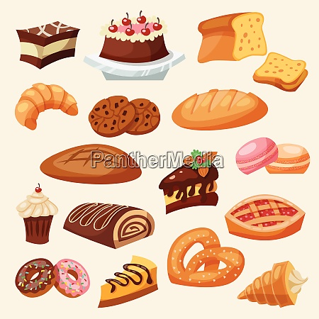 flat decorative icon pastry and sweets