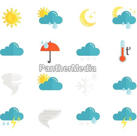 weather forecast and meteorology symbols icons