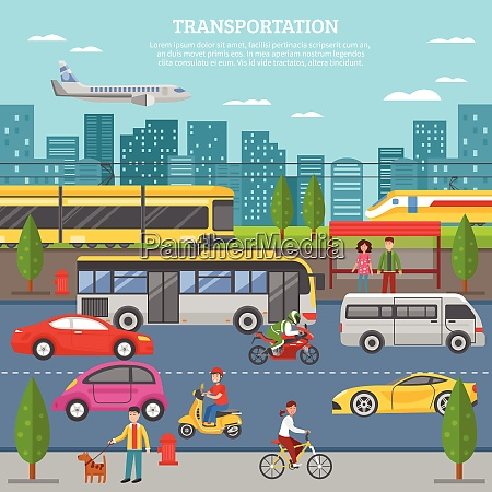 transport in city poster with people