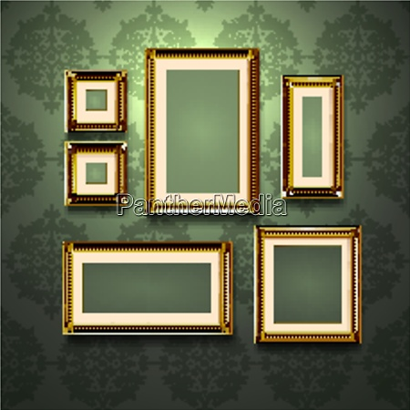 realistic golden frames on retro style