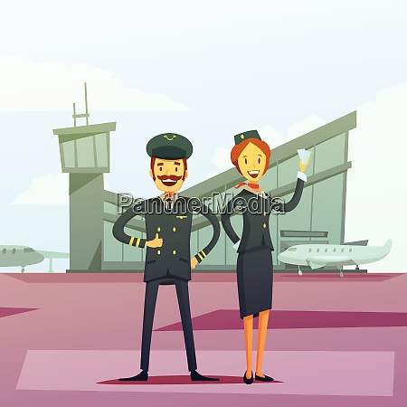 pilot and stewardess cartoon background with