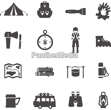 camping tourism and recreation icons flat