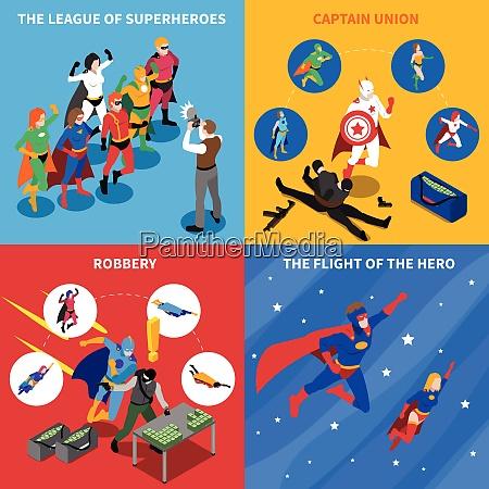 superhero isometric concept superhero icons set