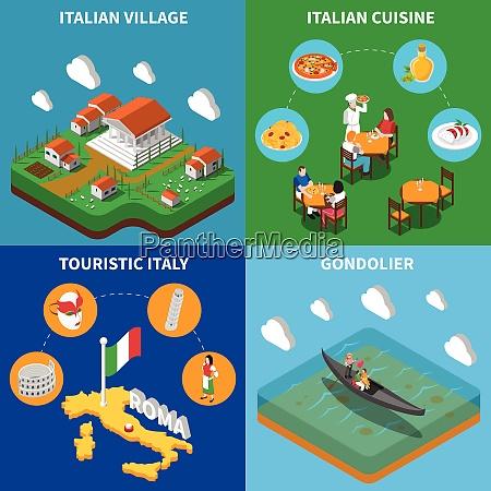 italian top touristic attractions 4 isometric