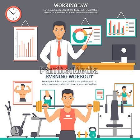 two horizontal man daily routine banner