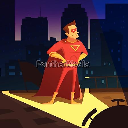 superman in night city cartoon background