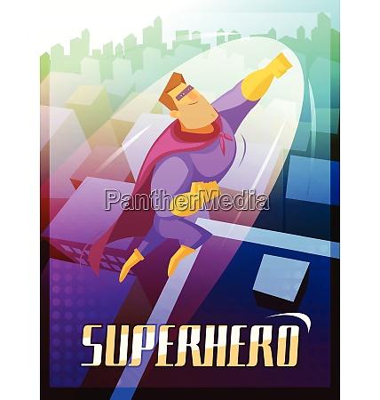 superhero cartoon poster with big city