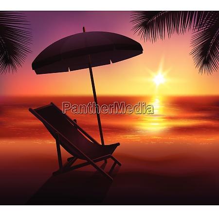 sunset lounge and umbrella on beach