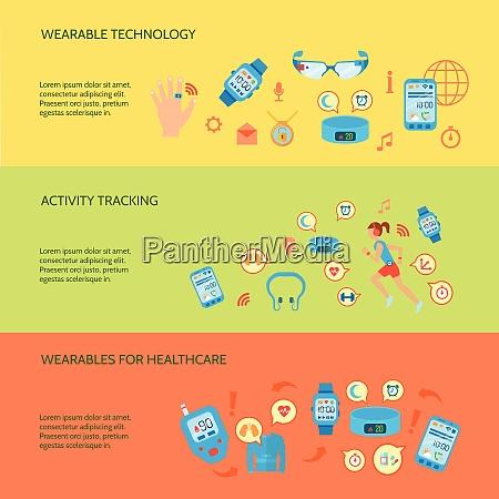 wearable gadgets flat concept wearable gadgets