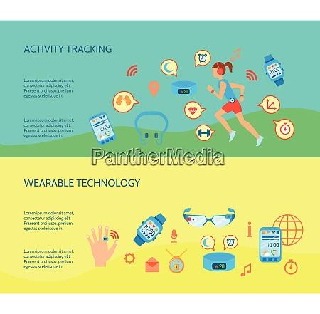 wearable technology flat concept wearable technology